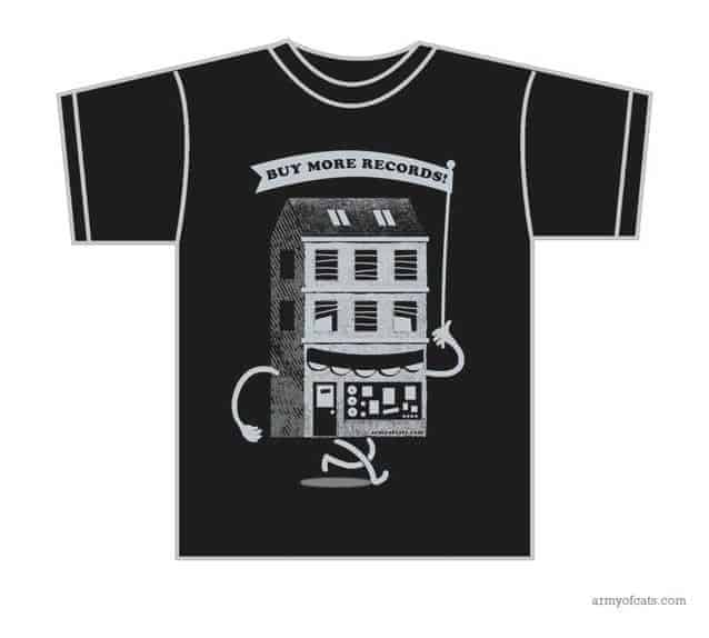 Buy More Records! shirt - SMALL by Army Of Cats Design