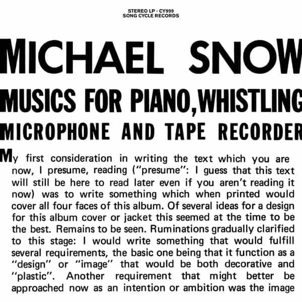 Music For Piano, Whistling, Microphone And Tape Recorder by Michael Snow