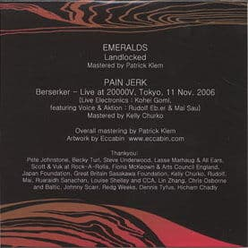 Tour CD by Emeralds/ Pain Jerk