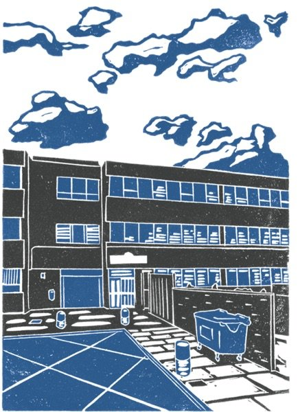 Our beautiful premises at Croydon House, Leeds. Linocut design by James Green.